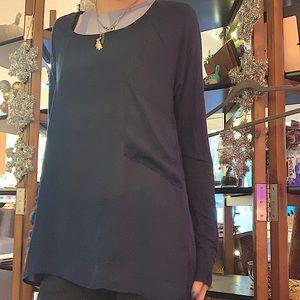 Navy Long Sleeve Tunic Shirt with pocket